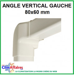 Angle vertical gauche pour raccord goulotte 80x60 mm - Ivoire
