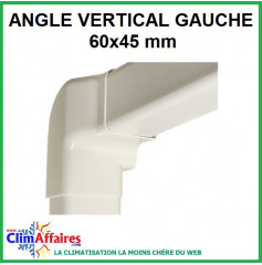 Angle vertical gauche pour raccord goulotte 60x45 mm - Ivoire