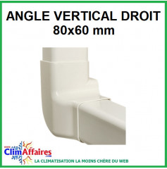 Angle vertical droit pour raccord goulotte 80x60 mm