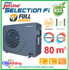 POOLSTAR - Pompe à chaleur piscine - POOLEX - JETLINE SELECTION FULL INVERTER - PC-JLS155N - 15.3 kW (65 à 80 m³)