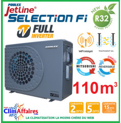 POOLSTAR - Pompe à chaleur piscine - POOLEX - JETLINE SELECTION FULL INVERTER - PC-JLS210N - 20.1 kW (80 à 110 m³)