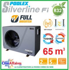 POOLSTAR - Pompe à chaleur piscine - POOLEX - SILVERLINE FULL INVERTER - PC-SLP120N - 11.3 kW (45 à 65 m³)