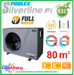 POOLSTAR - Pompe à chaleur piscine - POOLEX - SILVERLINE FULL INVERTER - PC-SLP150N - 14.5 kW (65 à 80 m³)