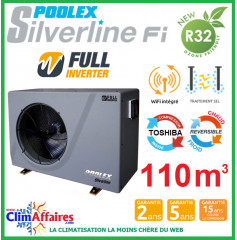 POOLSTAR - Pompe à chaleur piscine - POOLEX - SILVERLINE FULL INVERTER - PC-SLP200N - 19.2 kW (80 à 110 m³)
