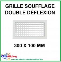Grille de Soufflage - Double Déflexion - Blanche - 300 x 100 mm