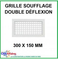 Grille de Soufflage - Double Déflexion - Blanche - 300 x 150 mm
