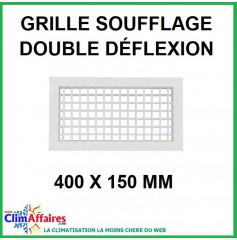 Grille de Soufflage - Double Déflexion - Blanche - 400 x 150 mm