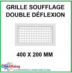 Grille de Soufflage - Double Déflexion - Blanche - 400 x 200 mm