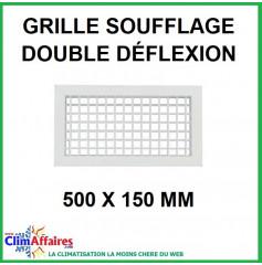 Grille de Soufflage - Double Déflexion - Blanche - 500 x 150 mm