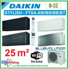 Daikin Climatisation Inverter Réversible - STYLISH Bluevolution - R32 - FTXA25AW/BS/BB/BT + RXA25A + WIFI (2.5 kW)