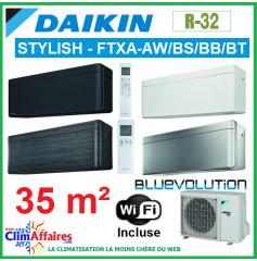 Daikin Climatisation Inverter Réversible - STYLISH Bluevolution - R32 - FTXA35AW/BS/BB/BT + RXA35A + WIFI (3.4 kW)
