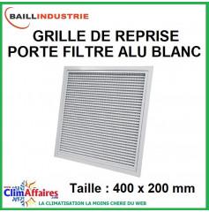 Baillindustrie - Grille de reprise + porte filtre alu blanc - 400x200 mm