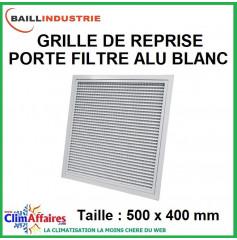 Baillindustrie - Grille de reprise + porte filtre alu blanc - 500x400 mm