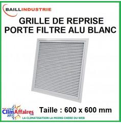 Baillindustrie - Grille de reprise + porte filtre alu blanc - 600x600 mm
