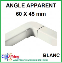Angle Apparent pour raccord goulotte 60x45 mm - Blanc