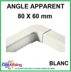Angle Apparent pour raccord goulotte 80x60 mm - Blanc