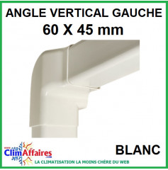 Angle Vertical Gauche pour raccord goulotte 60x45 mm - Blanc