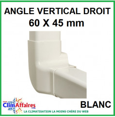 Angle Vertical Droit pour raccord goulotte 60x45 mm - Blanc