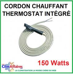 Cordon chauffant d'écoulement avec thermostat intégré - Isolation Silicone - 150 Watts (3 m)