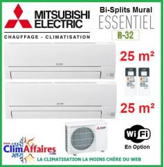 Mitsubishi Electric Multi-Splits Essentiel - Bi-Splits - R32 - MXZ-2HA40VF + 2 x MSZ-HR25VF (4.0 kW)