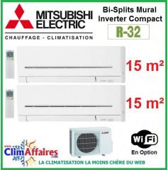 Mitsubishi Electric Multi-Split Standard - Bi-Splits - R32 - MXZ-2F33VF3 + 2 x MSZ-AP15VGK + WIFI (3.3 kW)