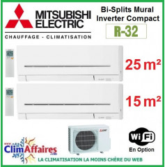 Mitsubishi Electric Multi-Split Standard - Bi-Splits - R32 - MXZ-2F42VF3 + MSZ-AP25VGK + MSZ-AP15VGK + WIFI (4.2 kW)