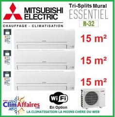 Mitsubishi Electric Multi-Splits Essentiel - Tri-Splits - R32 - MXZ-3HA50VF + 3 x MSZ-HR25VF (5.0 kW)