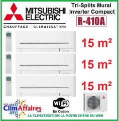 Mitsubishi Electric Multi-Split Standard - Tri-Splits - R410A - MXZ-3E54VA + 3 x MSZ-AP15VGK + WIFI (5.4 kW)