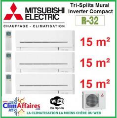 Mitsubishi Electric Multi-Split Standard - Tri-Splits - R32 - MXZ-3F54VF3 + 3 x MSZ-AP15VGK + WIFI (5.4 kW)