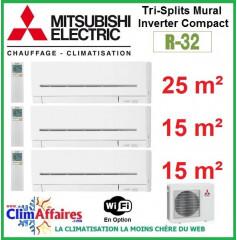 Mitsubishi Electric Multi-Split Standard - Tri-Splits - R32 - MXZ-3F54VF3 + MSZ-AP25VGK + 2 x MSZ-AP15VGK + WIFI (5.4 kW)