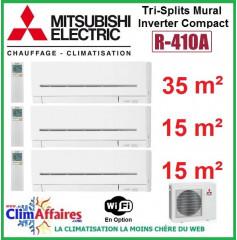 Mitsubishi Electric Tri-Split Standard - Mural Inverter - R410A - MXZ-3E68VA + MSZ-AP35VGK + 2x MSZ-AP15VGK + WIFI (6.8 kW)