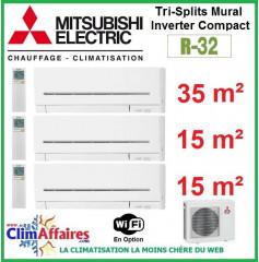 Mitsubishi Electric Multi-Split Standard - Tri-Splits - R32 - MXZ-3F68VF3 + MSZ-AP35VGK + 2 x MSZ-AP15VGK + WIFI (6.8 kW)