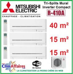 Mitsubishi Electric Tri-Split Standard - Mural Inverter - R410A - MXZ-3E68VA + MSZ-AP42VGK + 2x MSZ-AP15VGK + WIFI (6.8 kW)