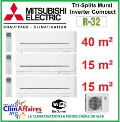 Mitsubishi Electric Multi-Split Standard - Tri-Splits - R32 - MXZ-3F68VF3 + MSZ-AP42VGK + 2 x MSZ-AP15VGK + WIFI (6.8 kW)