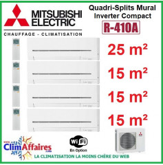 Mitsubishi Electric Standard - Quadri-Splits Mural Inverter - R410A - MXZ-4E72VA + MSZ-AP25VGK + 3 x MSZ-AP15VGK + WIFI (7.2 kW)