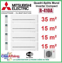 Mitsubishi Electric Standard - Quadri-Splits Mural Inverter - R410A - MXZ-4E83VA + MSZ-AP35VGK + 3 x MSZ-AP15VGK + WIFI (8.3 kW)