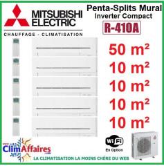 Mitsubishi Electric Penta-Split Standard - Mural Inverter - R410A - MXZ-5E102VA + MSZ-AP50VGK + 4x MSZ-AP15VGK + WIFI (10.2 kW)