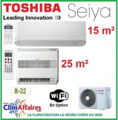 Toshiba Bi-Splits - SEIYA et CONSOLE DOUBLE FLUX - R32 - RAS-2M14U2AVG-E + RAS-B10J2FVG-E + RAS-B05J2KVG-E (4.0 kW)
