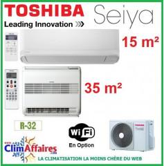 Toshiba Bi-Splits - SEIYA et CONSOLE DOUBLE FLUX - R32 - RAS-2M18U2AVG-E + RAS-B13J2FVG-E + RAS-B05J2KVG-E (5.2 kW)