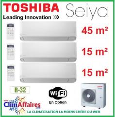 Toshiba Climatisation Tri-Splits - SEIYA - R32 - RAS-3M26U2AVG-E + 2 x RAS-B05J2KVG-E + RAS-B16J2KVG-E (7.5 kW)