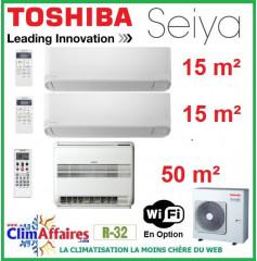 Toshiba Tri-Splits - SEIYA et CONSOLE DOUBLE FLUX - R32 - RAS-3M26U2AVG-E + RAS-B18J2FVG-E + 2 x RAS-B05J2KVG-E (7.5 kW)