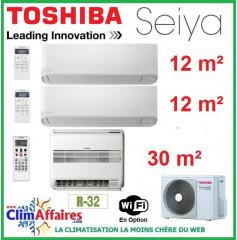 Toshiba Tri-Splits - SEIYA et CONSOLE DOUBLE FLUX - R32 - RAS-3M18U2AVG-E + RAS-B13J2FVG-E + 2 x RAS-B05J2KVG-E (5.2 kW)
