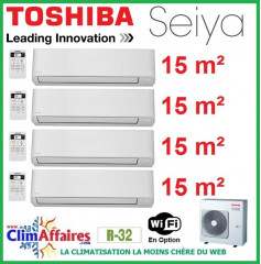 Toshiba Climatisation Quadri-Splits - SEIYA - R32 - RAS-4M27U2AVG-E + 4 x RAS-B05J2KVG-E (8.0 kW)