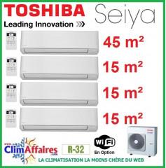 Toshiba Climatiseur Quadri-Splits - Seiya - R32 - RAS-4M27U2AVG-E + RAS-B16J2KVG-E + 3 x RAS-B05J2KVG-E (8.0 kW)