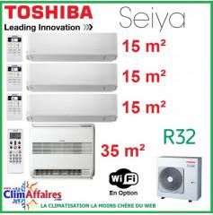 Toshiba Quadri-Splits - SEIYA / CONSOLE DOUBLE FLUX - R32 - RAS-4M27U2AVG-E + RAS-B13J2FVG-E + 3 x RAS-B05J2KVG-E (8.0 kW)