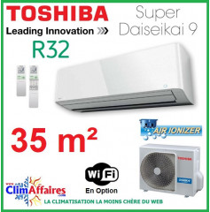 Toshiba Climatisation Mural Inverter - Super Daiseikai 9 - R32 - RAS-13PAVPG-E + RAS-13PKVPG-E (3.5 kW)