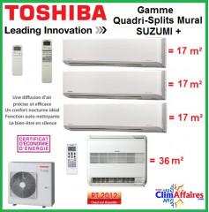 Toshiba Quadri-Splits Suzumi + Console UFV - RAS-4M27S3AV-E + 3 x RAS-M07N3KV2-E1 + RAS-B18UFV-E (8.0 kW)