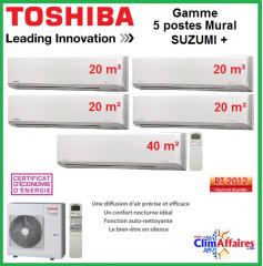 Toshiba Cinq Postes Suzumi + - RAS-5M34S3AV-E + 4 x RAS-M07N3KV2-E1 + RAS-B16N3KV2-E1 (10.0 kW)