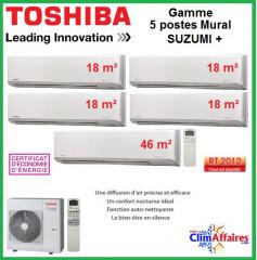 Toshiba Cinq Postes Suzumi + - RAS-5M34S3AV-E + 4 x RAS-M07N3KV2-E1 + RAS-B22N3KV2-E1 (10.0 kW)