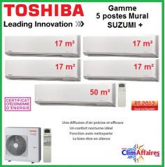Toshiba Cinq Postes Suzumi + - RAS-5M34S3AV-E + 4 x RAS-M07N3KV2-E1 + RAS-B24N3KV2-E1 (10.0 kW)